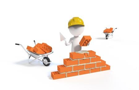 Petit personne - constructeur dans le casque avec une pelle et briques isolé sur blanc bacground