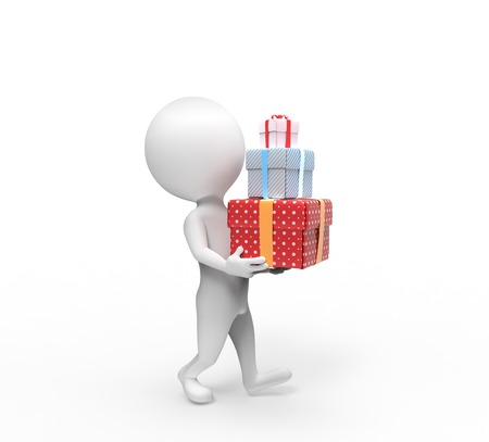 carries: Small person carries three box-gifts on white background