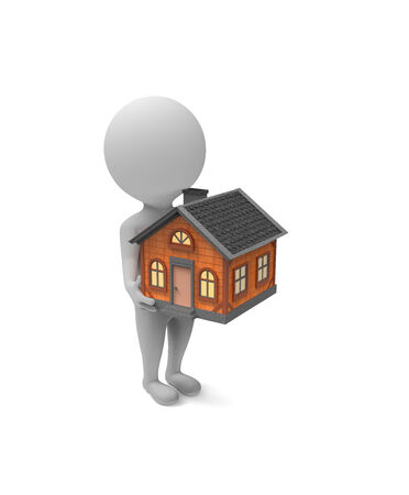 3d little white man holds a house in his hands on white background photo