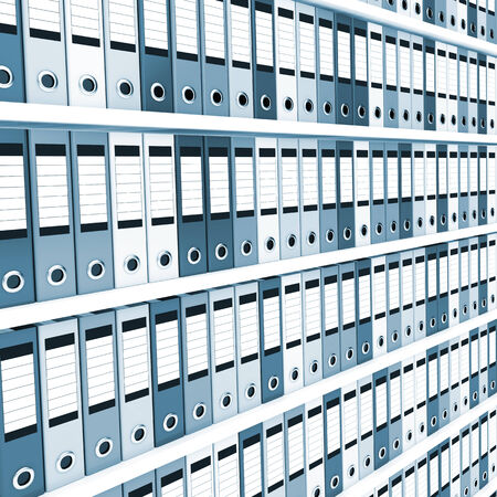 file box: Lots of office folders on shelves. Toned in blue