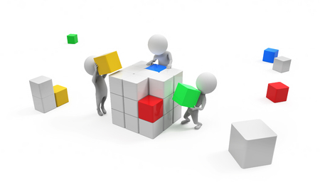 small business concept: 3d small people constructing cube on white bacgrounds Stock Photo