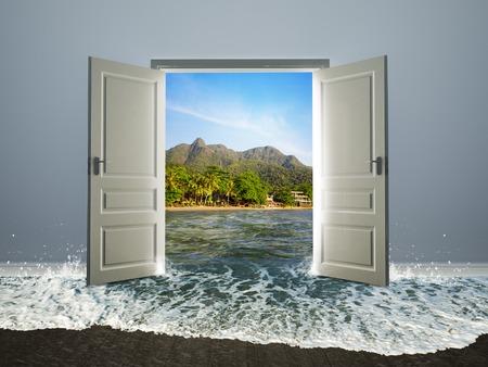 wide open: White door open to the beach