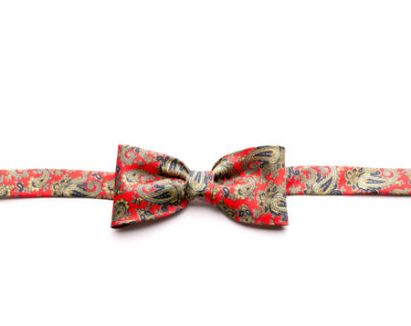 egghead: Red bow-tie with flowers isolated on white background Stock Photo