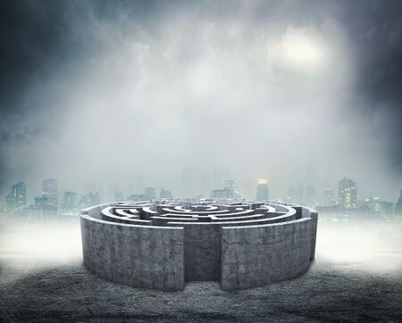 3D circular labyrinth against dark background Stock Photo