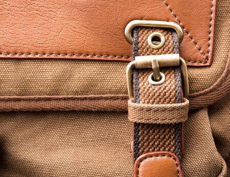 Macro of brown bag buckle