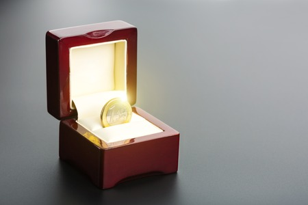 gold and silver coins: One euro coin in the gift box