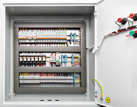 electrical panel: Metal shield energy distribution with a door