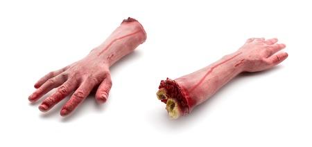 白い背景に分離された 2 つの人工人間血の腕 写真素材