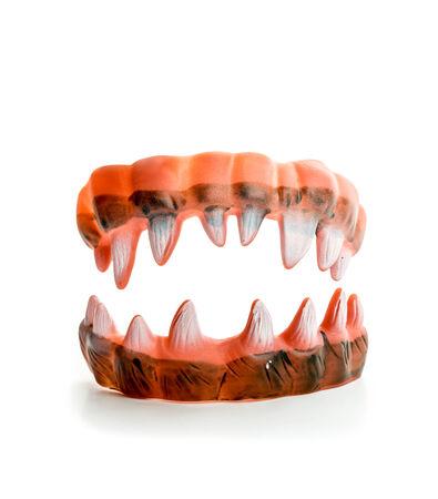 vamp: Monsters ugly sharp teeth on white
