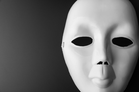 showpiece: Closeup of theater mask. In B-W