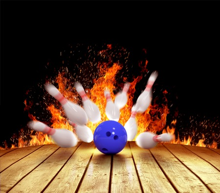 Illustration of spread skittles in the fire and bowling ball on wooden floor