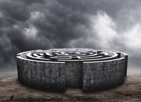 cloudy sky: 3D circular labyrinth against dark cloudy sky Stock Photo