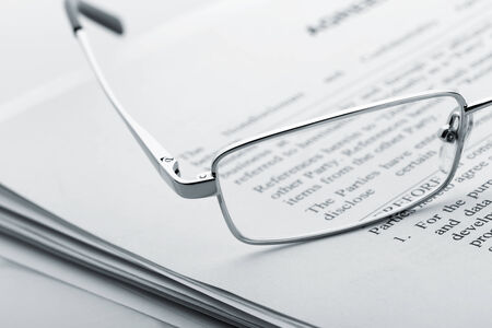 lieing: Closeup of glasses lieing on the newspaper Stock Photo