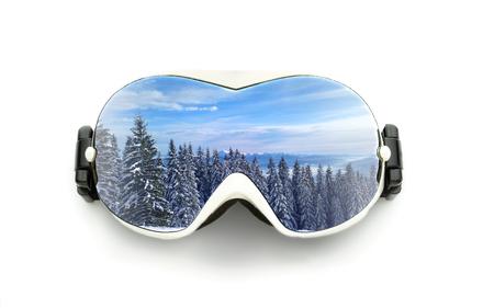 ski mask: Ski glasses with mountain reflection isolated on white background
