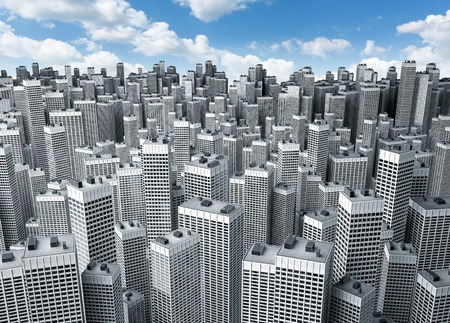 storied: Many modern office buildings forming a block against blue sky Stock Photo