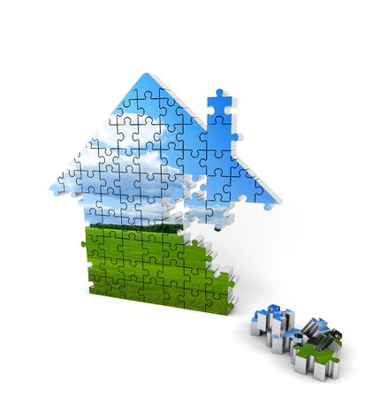residential structure: Blue and green house consisting of puzzles on white background