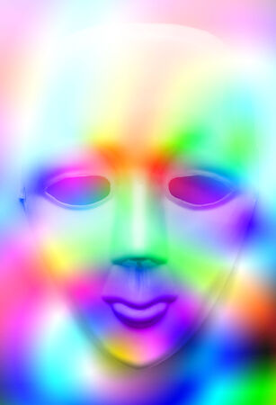 showpiece: Closeup of face mask in colourfull lights