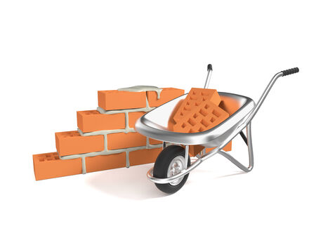 hand cart: Stack of red bricks and a hand cart isolated on white background