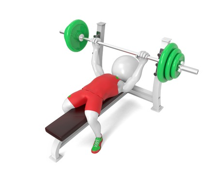 powerlifting: Little white weight-lifter raises the bar on white background