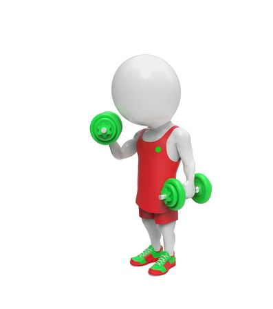 white person: Small white person with dumbbells isolated on white background Stock Photo