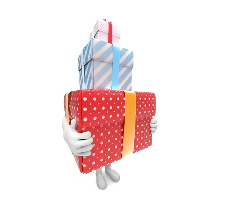 carries: Side view os a small person carries three hard box-gifts on white background