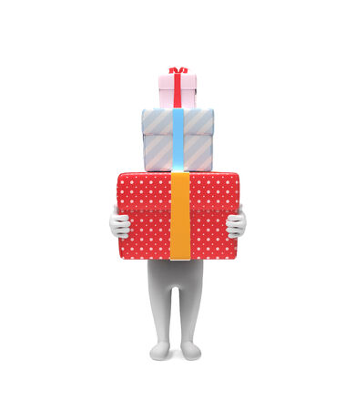 carries: A small person carries three hard box-gifts on white background Stock Photo