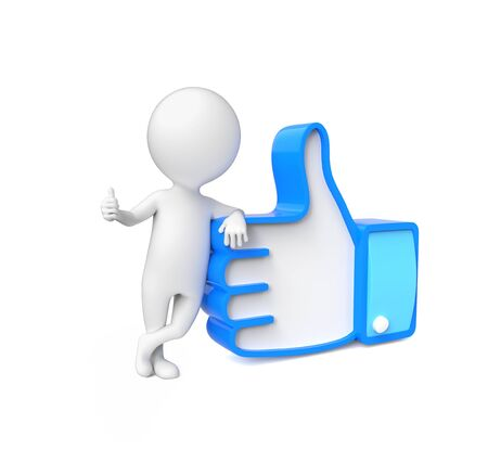 accordance: Small person showing thumb up over white Stock Photo