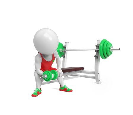 physical exercise: Small white person with dumbbells on white background