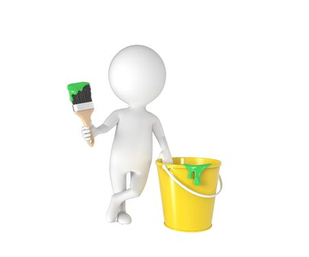 3d small people: Little white person with brush and bucket of paint isolated on white background