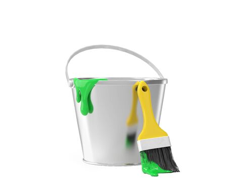 paintbucket: Bucket with green paint and brush over white background