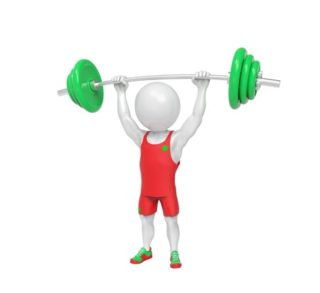 powerlifting: Small white weight-lifter raises the bar over white background
