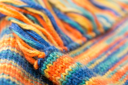 fringes: Knitted multicolored texture with fringes