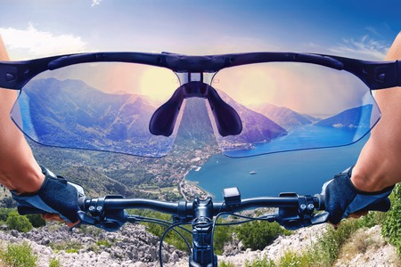 bycicle: Beautiful view of the mountain landscape from the bycicle