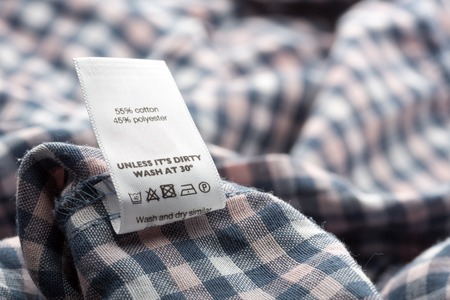 casual clothing: Closeup view of cloth label