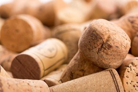 Lots of wine corks closeup photo