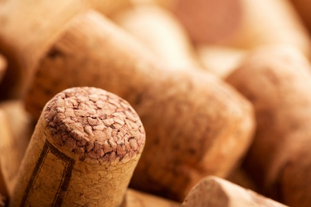 Closeup of different wine corks. Toned photo