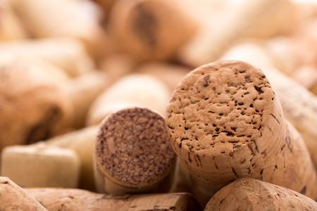 A lot of wine corks. Closeup view photo