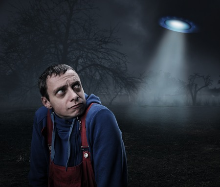 abduct: Guy scared by UFO at night