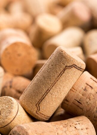 Closeup of wine corks heap photo