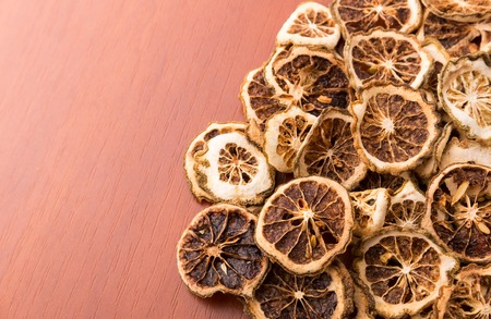 heartiness: Heap of dried lime slices closeup Stock Photo