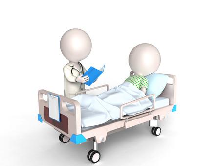 의사와 환자와 같은 3D 작은 흰색 명 스톡 콘텐츠