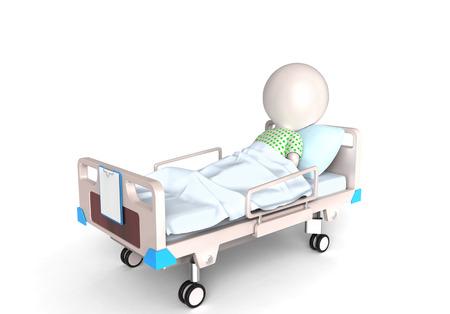 3d klein persoon, zoals een patiënt in het ziekenhuis bed