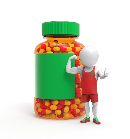 steroids: 3D little person as sportsman stands near steroids pills bottle Stock Photo