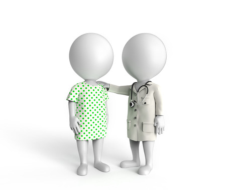 patient care: 3D little white persons standing as doctor and patient