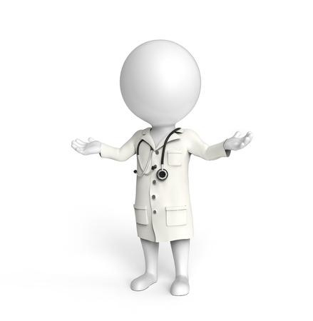 3D little white person stands as a doctor with outstretched hands