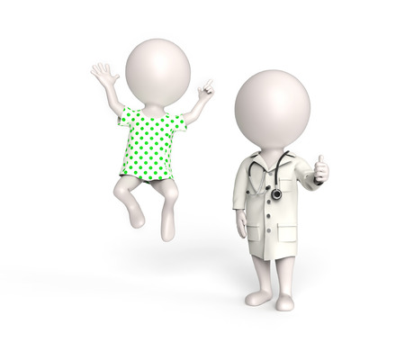 high spirits: 3D little white persons as doctor and patient in high spirits Stock Photo
