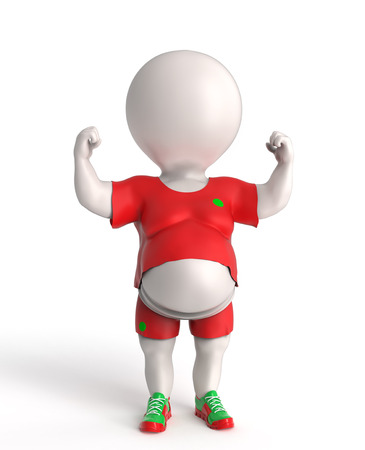 3D little overweight sportsnman showing his small biceps Stock Photo