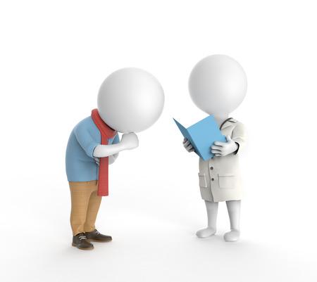Petites personnes blanches 3D debout comme un médecin et patient malade