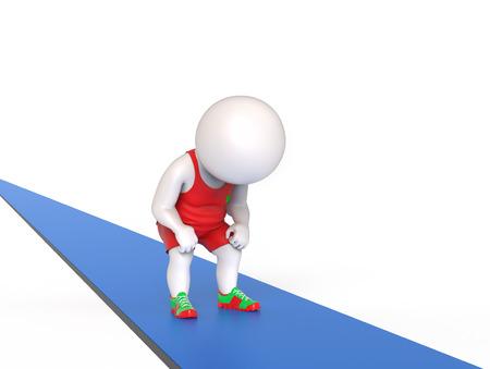 sportsman: 3D little tired man standing on treadmill