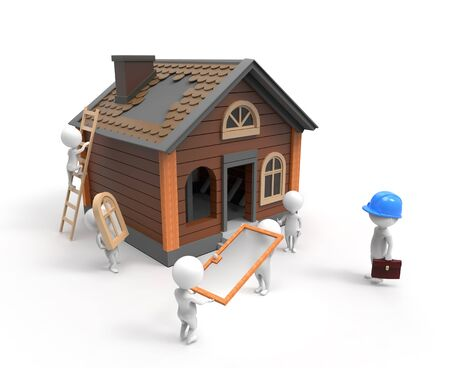 3D little people are building the house photo